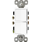 White - 15 Amp Max. - Decorator Double Switch Image
