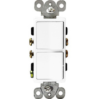White - 15 Amp Max. - Decorator Double Switch - Single Pole - Rocker Switch - 120/277 Volt