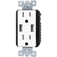 USB Charger - Dual Receptacle - Tamper Resistant - White - 15 Amp