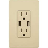 USB Charger - Dual Receptacle - Tamper Resistant - Ivory - 15 Amp