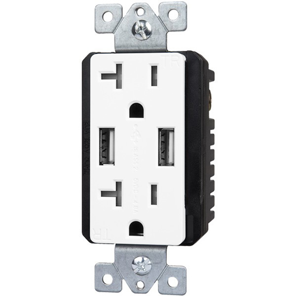 USB Dual Charger Receptacle - Interchangeable Face Covers Included - White Image