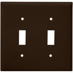 Toggle Wall Plate - Brown - 2 Gang Image