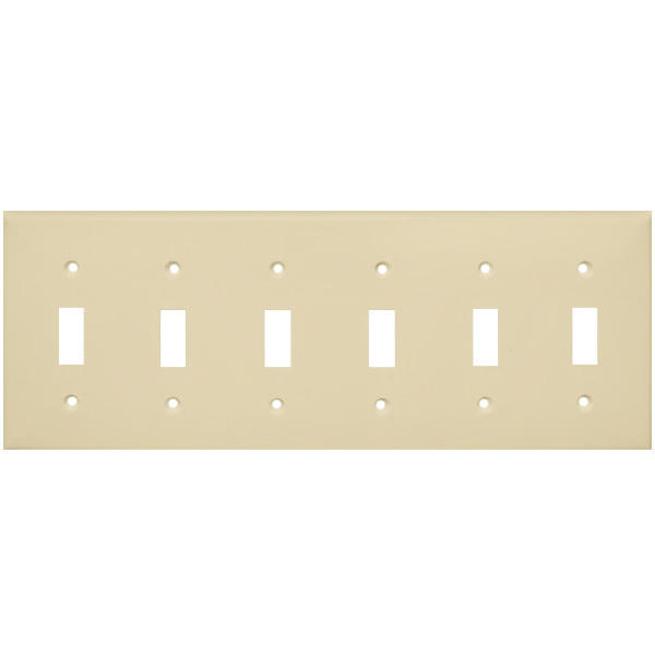 Toggle Wall Plate - Ivory - 6 Gang Image
