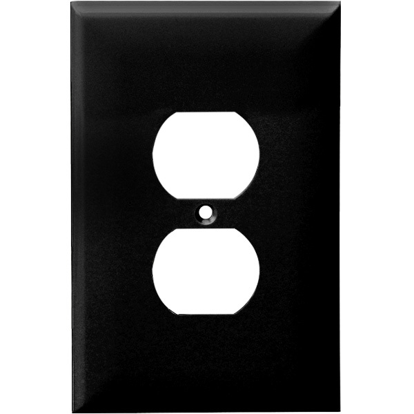 Duplex Receptacle Wall Plate - Black - 1 Gang Image