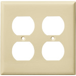 Duplex Receptacle Wall Plate - Ivory - 2 Gang Image