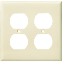 Duplex Receptacle Wall Plate - Light Almond - 2 Gang - Mid Size - Enerlites 8822M-LA