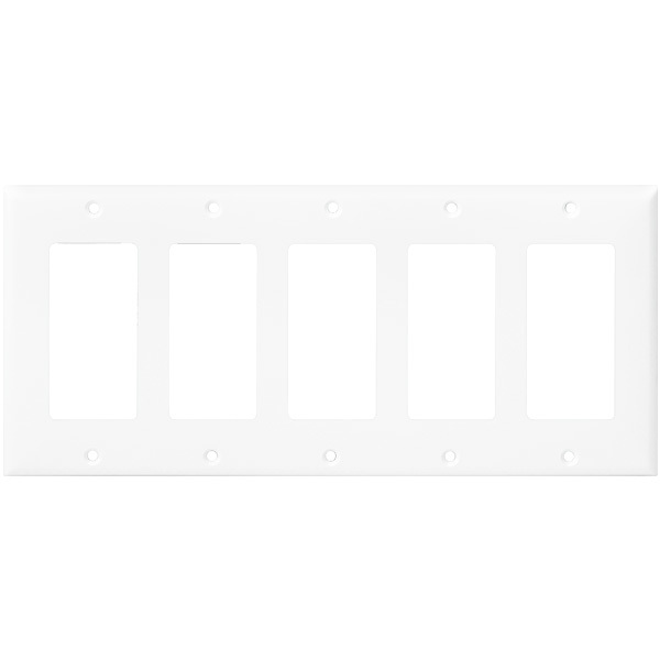 Decorator Wall Plate - White - 5 Gang Image