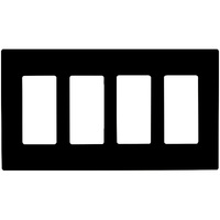 Black - Screwless - 4 Gang - Decorator Wall Plate - Enerlites SI8834-BK -