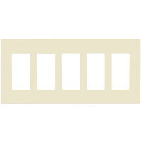 Light Almond - Screwless - 5 Gang - Decorator Wall Plate - Enerlites SI8835-LA