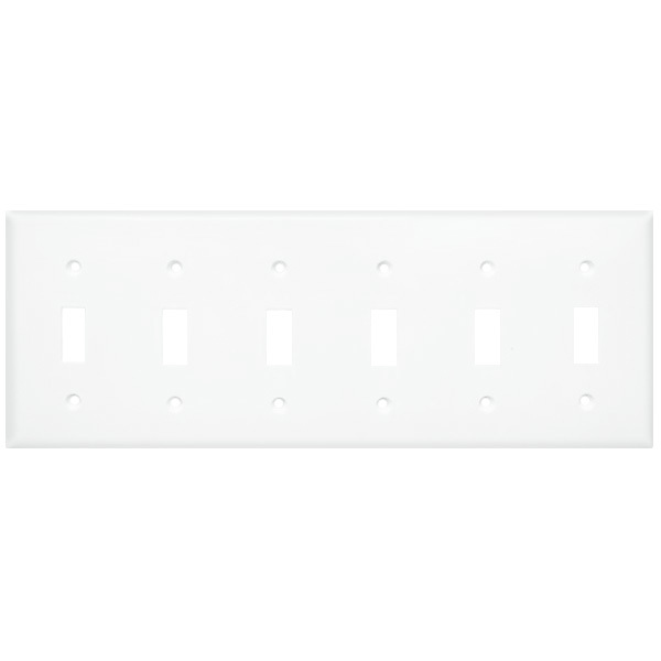 Toggle Wall Plate - White - 6 Gang Image