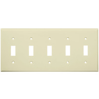 Almond - 5 Gang - Toggle Wall Plate - Enerlites 8815-A