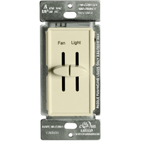 Fan Control and Incandescent Dimmer - Single Pole - Dual Slide - Almond