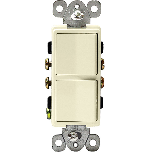 Almond - 15 Amp Max. - Decorator Double Switch Image