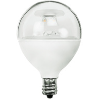 350 Lumens - 5W - 40W Equal - LED G16.5 Globe - 1.9 in. Diameter - 2700 Kelvin - Clear - Candelabra Base - Dimmable - 120V