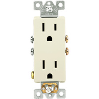 15 Amp - Decorator Duplex Receptacle - Light Almond - 125 Volt