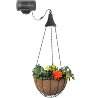 Hanging Solar LED Light Kit with Planter Basket - 3100 Kelvin - 40 Lumens - Black - Gama Sonic GS-6