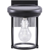 Solar Coach Wall Lantern with Solar LED Light Bulb - 2700 Kelvin - 60 Lumens - Black - Gama Sonic GS-1B