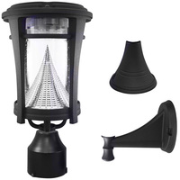 Solar Aurora Wall Lantern with 3 Mounting Options - 6000 Kelvin - 50 Lumens - Black - Gama Sonic GS-124FPW