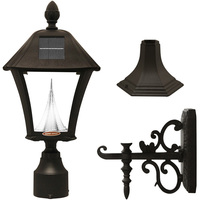 Solar Baytown Lantern with 3 Mounting Options - 3000/6000 Kelvin - 70/80 Lumens - Black - Gama Sonic GS-106FPW-B