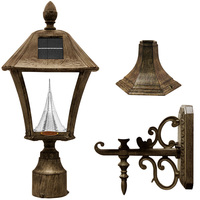 Solar Baytown Lantern with 3 Mounting Options - 3000/6000 Kelvin - 70/80 Lumens - Weathered Bronze - Gama Sonic GS-106FPW-WB