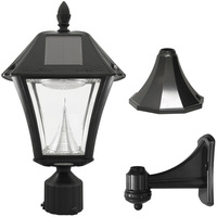 Solar Baytown II Wall Lantern with 3 Mounting Options - 6000 Kelvin - 130 Lumens - Black - Gama Sonic GS-105FPW-BW