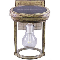 Solar Coach Wall Lantern with Solar LED Light Bulb - 2700 Kelvin - 60 Lumens - Weathered Bronze - Gama Sonic GS-1B WB