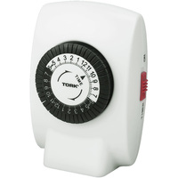 24 Hour Mechanical Plug-In Timer - 15 Amp - Grounded Plug - 1250 Watt Maximum - 125 VAC - Tork 402B