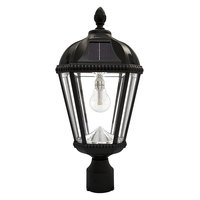 Solar Royal Lamp with 3 in. Fitter - 2700 Kelvin - 120 Lumens - Black - Gama Sonic GS-98B-F-BLK