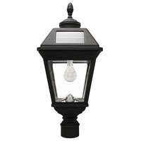 Solar Imperial Lamp with 3 in. Fitter - Includes Eagle/Acorn Finial - 2700 Kelvin - 180 Lumens - Black - Gama Sonic GS-97B-F