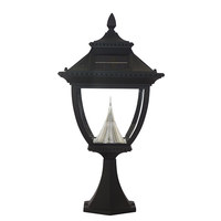 Solar Pagoda Lamp with Post Top Mount - 6000 Kelvin - 180 Lumens - Black - Gama Sonic GS-104P