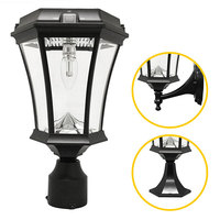 Solar Victorian Wall Lantern with 3 Mounting Options - 2700 Kelvin - 150 Lumens - Black - Gama Sonic GS-94B-FPW