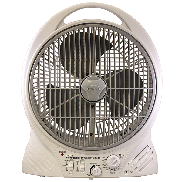 Rechargeable Cooling Fan with AM/FM Radio and MP3 Input Image