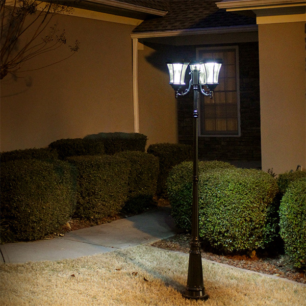 Solar Victorian Lamp Post with Triple Lamp Head Image