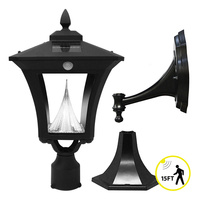 Solar Weston Wall Lantern with Motion Sensor - 3 Mounting Options - 6000 Kelvin - 75/150 Lumens - Black - Gama Sonic GS-53FPW-PIR