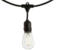 48 ft. - Patio Light Stringer - 15 Sockets - 36 in. Spacing - Black Wire - Male to Female - Connectable up to 3 Strands - LED S14 Vintage Bulbs Included