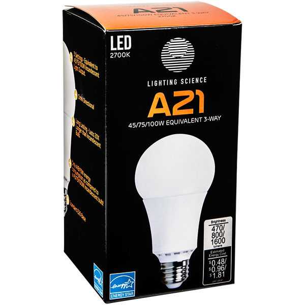 LED A21 - 3-Way Light Bulb - 45/75/100 Watt Equal Image