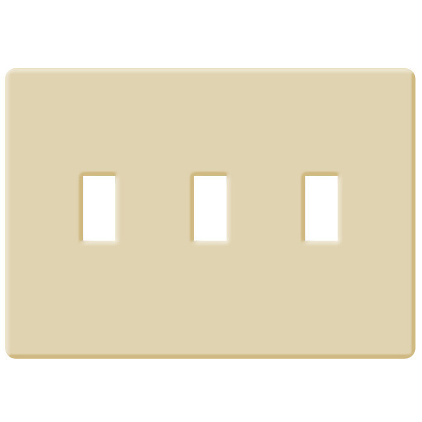Toggle Wall Plate - Ivory - 3 Gang Image