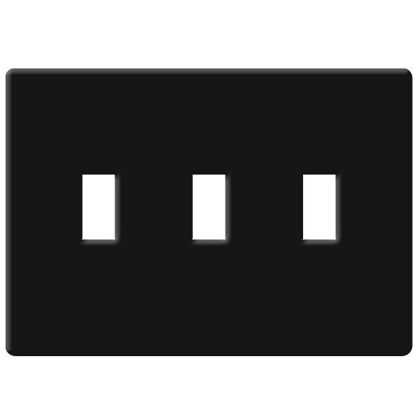 Toggle Wall Plate - Black - 3 Gang Image