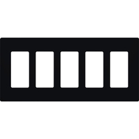 Black - Screwless - 5 Gang - Decorator Wall Plate - Lutron Claro CW-5-BL