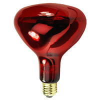 175 Watt - R40 - IR Heat Lamp - Red - 5,000 Life Hours - 130 Volt