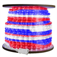 3/8 in. - Incandescent - Red, White, Blue - Rope Light - 2 Wire - 120 Volt - 75 ft. Spool - Clear Tubing with Colored Bulbs - Signature 10MM-RWB-75