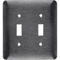Stainless Steel - 2 Gang - Mid Size - Toggle Wall Plate - Enerlites 7712IM