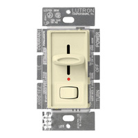 Almond - 600 Watt Max. - Incandescent Dimmer with Locator Light - Single Pole - Rocker and Slide Switch - 120 Volt - Lutron Skylark S-600PNL-AL