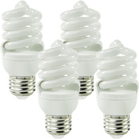 Spiral CFL - 13 Watt - 60 Watt Equal - Incandescent Match - 4 Pack - 900 Lumens - 2700 Kelvin - Medium Base - 120 Volt - Satco S6235