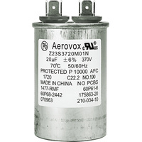 370VAC - Oil Filled Motor Run Capacitor - 20uf - Metal Round Case - Aerovox Z23S3720M01N