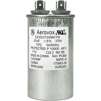 370VAC - Oil Filled Motor Run Capacitor - 30uf - Metal Round Case - Aerovox Z23S3730M01N