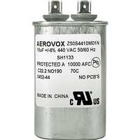 440VAC - Oil Filled Motor Run Capacitor - 10uf - Metal Oval Case - Aerovox Z50S4410M01N