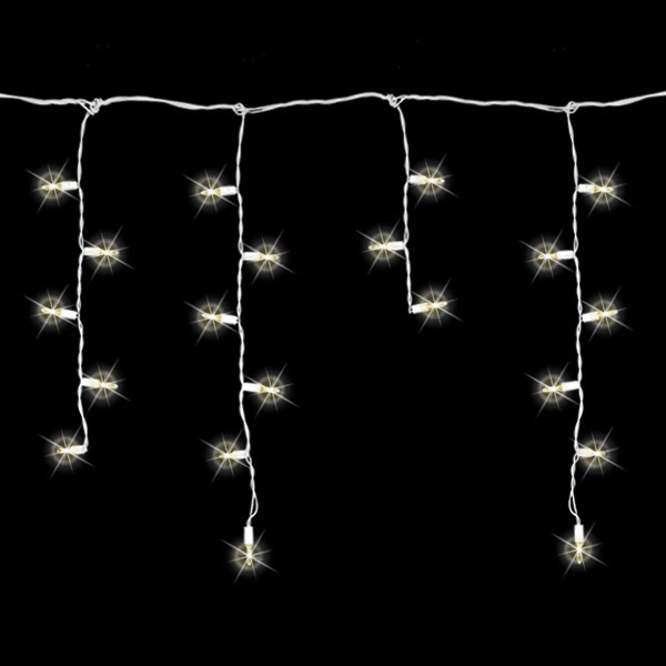8 ft. Icicle Stringer - (70) LED Mini Lights - Warm White - White Wire Image