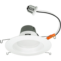 1200 Lumens - 5-6 in. Retrofit LED Downlight - 17W - 85W Equal - 3000 Kelvin - Smooth Baffle Trim - Dimmable - 120V - Green Creative 97760