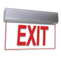 LED Exit Sign - Deluxe Edge-Lit - Red Letters - 120/277 Volt and Battery Backup - Exitronix 902E-U-WB-RC-BA